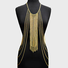 ELABORATE Statement Gold Crystal Fringe Necklace Body Chain By Rocks Boutique