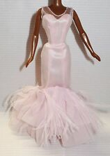 DRESS ONLY ~ BARBIE DOLL PALE PINK 2002 TULLE & FEATHER SILKSTONE EVENING GOWN