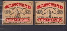 Ancienne étiquette de paquet allumettes Suède AZ4203 The Columbia Statue femme