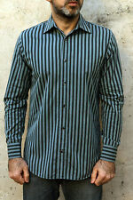 CK Calvin Klein Mens Casual Shirt Striped Green Black Cotton Long Sleeved S AUTH