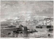 Messina: Panorama. Grande Veduta. Sicilia. Stampa Antica + Passepartout. 1860