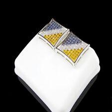 Box Design 3 Tone Square Earring 14k White Gold Finish Mens Lab Diamond Studs