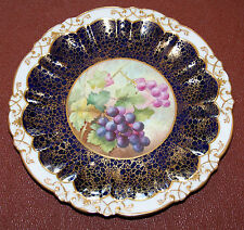 Hand Painted Vintage Hammersley China Gilded Cabinet Plate - Grapes