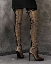 Burberry Green & Black RUNWAY Python THIGH HIGH COMBAT Platform Boot 39.5 $2495