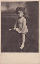 Antique c1905 French Postcard - Nude Child, Cherub, Bow And Arrow, Art Nouveau