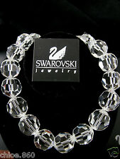 SIGNED SWAROVSKI CUT FACETED CLEAR CRYSTAL RHODIUM NECKLACE NWT RETIRED RARE