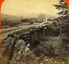 Stereoview Photo Baker River New Hampshire Rustic Wooden Bridge Road Houses