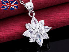 "925 Sterling Silver Crystal Necklace Flower Snowflake 18"" Ladies Gift UK"