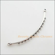 4Pcs Tibetan Silver Tone Strip Charms Pendants Connectors 12x79mm