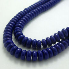New 40Pcs 8mm Charm Deep Blue Flat Plane Spacer Crystal Glass Loose Beads