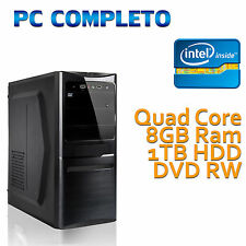 COMPUTER DESKTOP FISSO INTEL QUAD CORE 8GB 1TB MASTERIZZATORE DVD DUAL LAYER