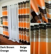 New set of  STRIPED RING TOP EYELET READY MADE CURTAIN VOILE WINDOW PANELS