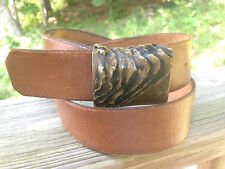 "Vintage KELLY Hand Made Brass Belt Buckle on Artisan Leather Belt 26"" - 32"" WOW"
