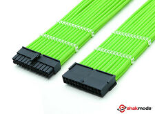 Shakmods 24pin ATX Motherboard 30cm Green Sleeved Extension + 2 Cable Combs