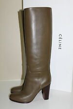 New sz 10 US / 40  CELINE KAKY TALL Olive LEATHER HEEL Riding BOOT Shoe