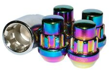 Capped Locking Wheel Nuts STEEL - NEO CHROME/PETROL - M12 x 1.5 Toyota Honda