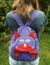 Fair Trade Ladies Girls Cute Cotton Animal Cat Rucksack Backpack Bag School Bag