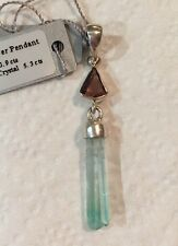 NWT Tourmaline Starborn Creations SS Sterling Silver Pendant Rough Raw