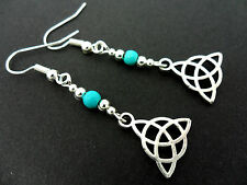 A PAIR OF TIBETAN SILVER TURQUOISE BEAD CELTIC KNOT EARRINGS. NEW.