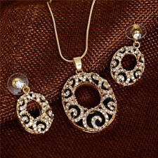 Austrian Crystal 18k Gold Filled Charming Stud Earrings Necklace Jewelry Set