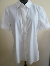 THEORY Women's S/S White Cotton Shirt  ~~sz L~~