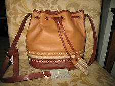 NWT Isabella Fiore Hutton Drawstring Leather Bucket  bag IF151580 Cognac