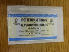 24/08/2007 Ticket: Rugby Union, Rotherham v Glasgow  (folded). Thanks for viewin