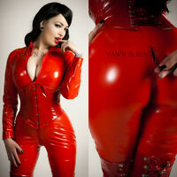 Vawn and Boon - Premium Red PVC Catsuit Size 6 8 10 12 14 16 XS S M L XL XXL