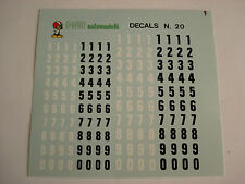 DECALS KIT 1/43 NUMERI mm 4-5  NERI BIANCHI  F1 LE MANS GENERICA DECALCOMANIA