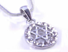 Star Of David Magen Judaica Necklace Pendant Kabbalah Jewelry Silver With Stones