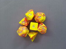 7 x Polyhedral Poly Dice Set Ooze Toxic Yellow/Red  D&D RPG