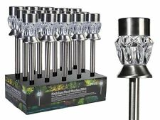 Edelstahl Solar Gartenstecker Erdspiess 2 Funktionen farbwechsel weisse LED