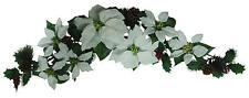 "White Poinsettia 35"" Swag Garland Christmas Decor Artificial Flower Home Office"