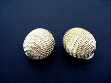 ERWIN PEARL Satin Goldtone Round With Design Clip Earrings Set