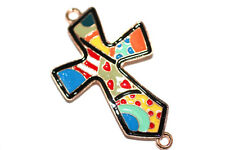 4 Mixed Color Enamel Cross Bracelet Connector Charm 1-3 day Shipping