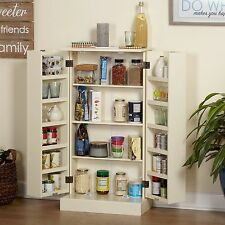 White Kitchen Pantry Cupboard Storage Cabinet Tall Organize Food Utility Shelves