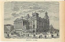 Stampa antica MANCHESTER Palazzo della Borsa 1905 Old antique print