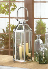 STEEL SYMMETRY WHITE CANDLE LANTERN INDOOR OUTDOOR