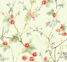 CH80005 Oriental Floral Wallpaper | Reds Beige Green Grey Designer Wallpaper