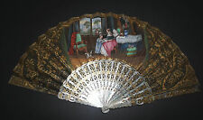 ANTIQUE FRENCH CARVED GOLD GILT MOTHER OF PEARL HAND PAINTED FIGURAL SCENE FAN