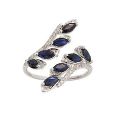 LONG 14K WHITE GOLD PAVE DIAMOND MARQUISE SAPPHIRE CUFF LEAF COCKTAIL RING