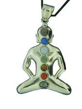 BUTW Pewter Buddha Chakra Amulet with Gemstone Accents Pendant Necklace 0831C