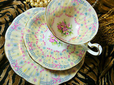 QUEEN ANNE TEA CUP AND SAUCER TRIO ~ROYAL BRIDAL GOWN~PRETTY ORCHIDS   GOLD