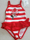 Disney Minnie Mouse Adorable Frill Skirt Red Striped Swim Suit / Bathers - NWT