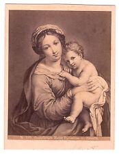 Impresión original grabado Sassoferrato mater purissima madonna con el niño