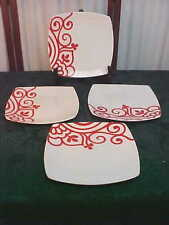 4 Coventry Fine Porcelaine China Valley Swirls Red Square Dinner Plates