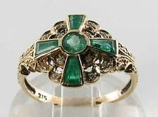LOVELY 9K 9CT GOLD COLOMBIAN EMERALD & DIAMOND ART DECO INS RING FREE RESIZE