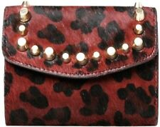 ZARA ACCESSORIES Cow Leather LEOPARD Animal Burgundy STUDDED Wallet FREE SHIP