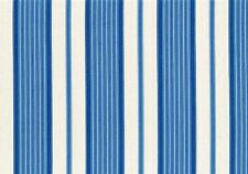 Designer Fabric Blue Off White Striped Cotton Drapery Upholstery