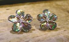 16mm Solid Sterling Silver Paua Abalone Shell Hawaiian Plumeria CZ Stud Earrings